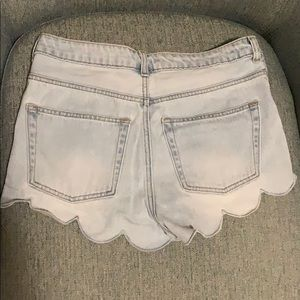 Scalloped Jean Shorts